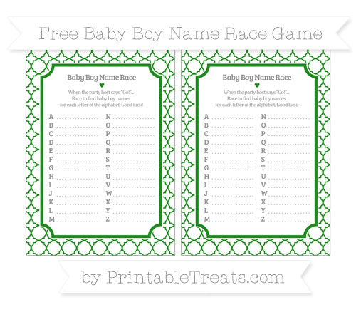 Free Forest Green Quatrefoil Pattern Baby Boy Name Race Game