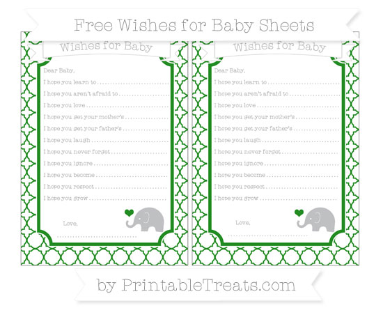 Free Forest Green Quatrefoil Pattern Baby Elephant Wishes for Baby Sheets