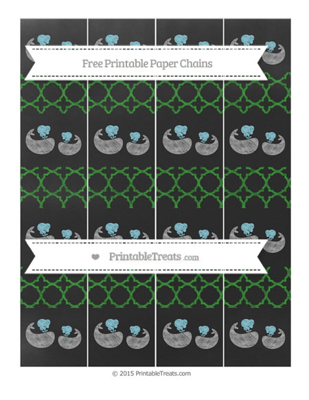 Free Forest Green Quatrefoil Pattern Chalk Style Baby Whale Paper Chains