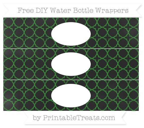 Free Forest Green Quatrefoil Pattern Chalk Style DIY Water Bottle Wrappers