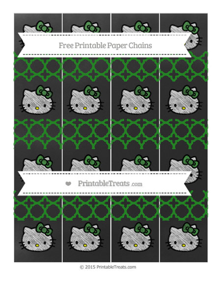 Free Forest Green Quatrefoil Pattern Chalk Style Hello Kitty Paper Chains