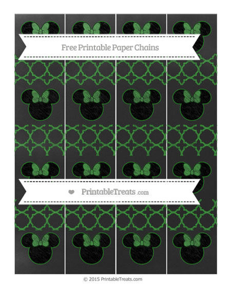 Free Forest Green Quatrefoil Pattern Chalk Style Minnie Mouse Paper Chains