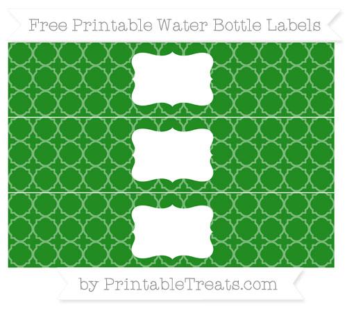 Free Forest Green Quatrefoil Pattern Water Bottle Labels