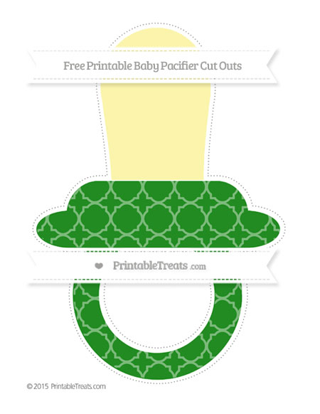 Free Forest Green Quatrefoil Pattern Extra Large Baby Pacifier Cut Outs