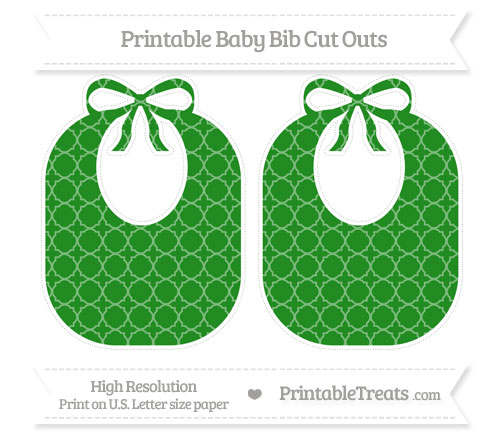 Free Forest Green Quatrefoil Pattern Large Baby Bib Cut Outs