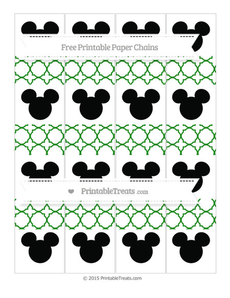 Free Forest Green Quatrefoil Pattern Mickey Mouse Paper Chains