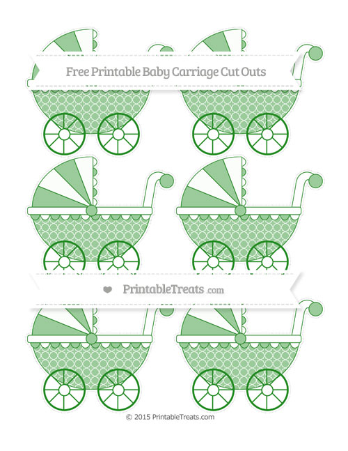 Free Forest Green Quatrefoil Pattern Small Baby Carriage Cut Outs