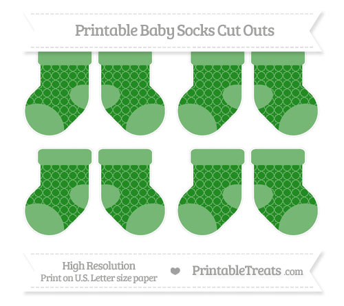 Free Forest Green Quatrefoil Pattern Small Baby Socks Cut Outs