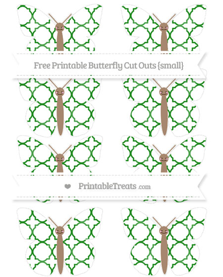 Free Forest Green Quatrefoil Pattern Small Smiley Butterfly Cut Outs