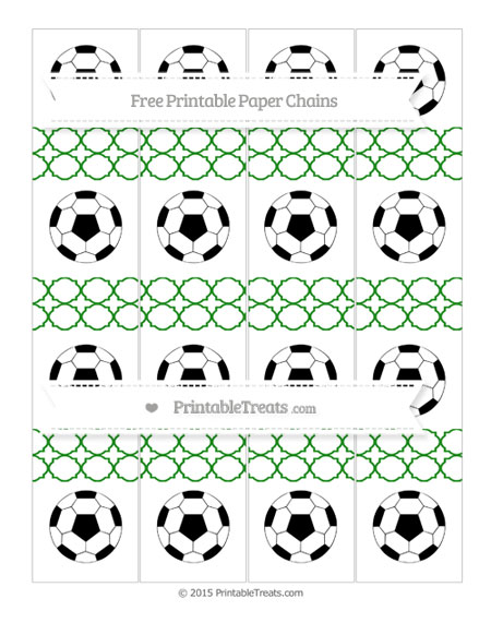 Free Forest Green Quatrefoil Pattern Soccer Paper Chains