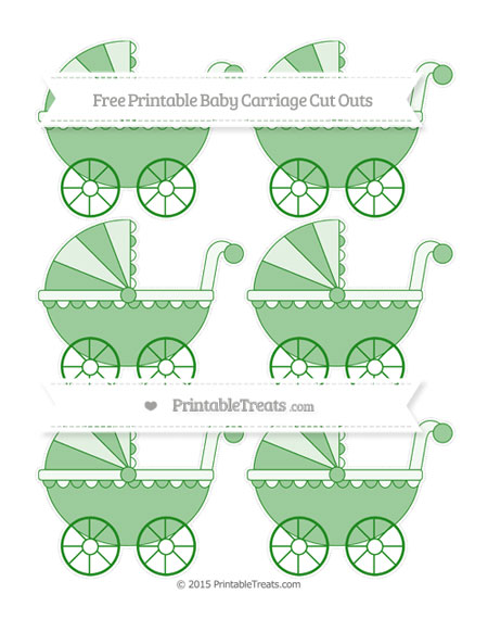 Free Forest Green Small Baby Carriage Cut Outs