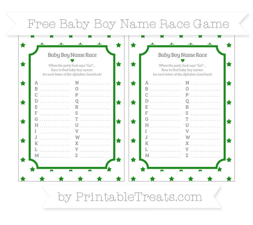 Free Forest Green Star Pattern Baby Boy Name Race Game