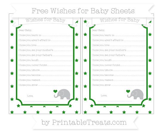 Free Forest Green Star Pattern Baby Elephant Wishes for Baby Sheets