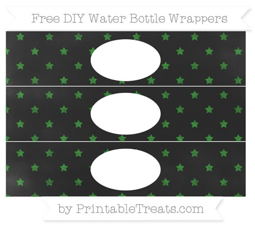 Free Forest Green Star Pattern Chalk Style DIY Water Bottle Wrappers