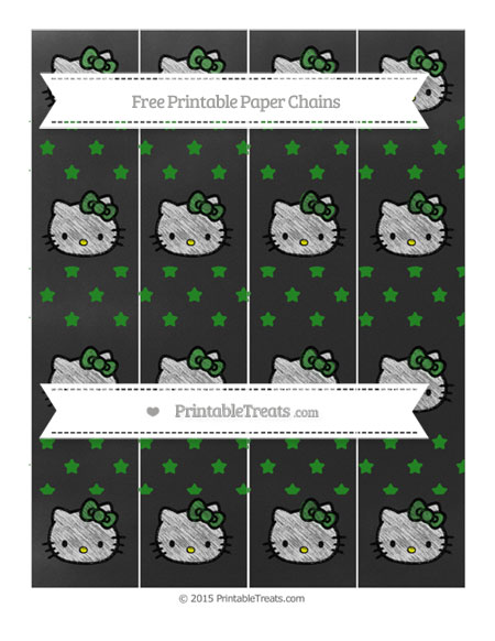 Free Forest Green Star Pattern Chalk Style Hello Kitty Paper Chains