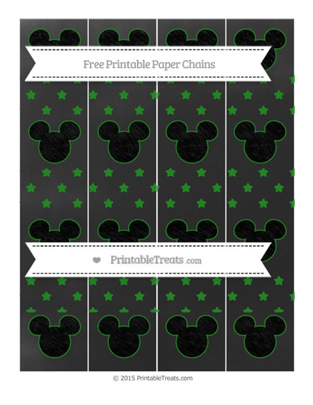 Free Forest Green Star Pattern Chalk Style Mickey Mouse Paper Chains