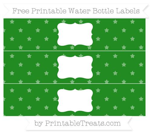 Free Forest Green Star Pattern Water Bottle Labels