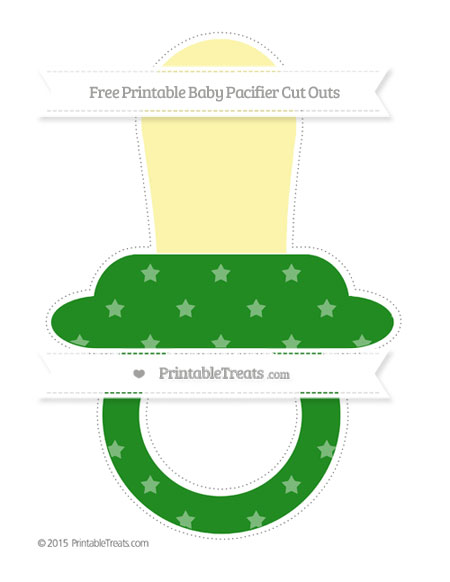 Free Forest Green Star Pattern Extra Large Baby Pacifier Cut Outs