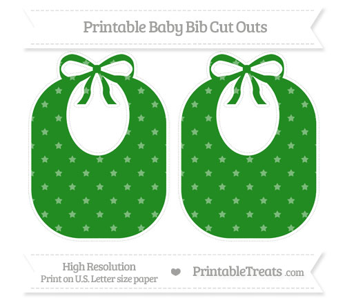 Free Forest Green Star Pattern Large Baby Bib Cut Outs