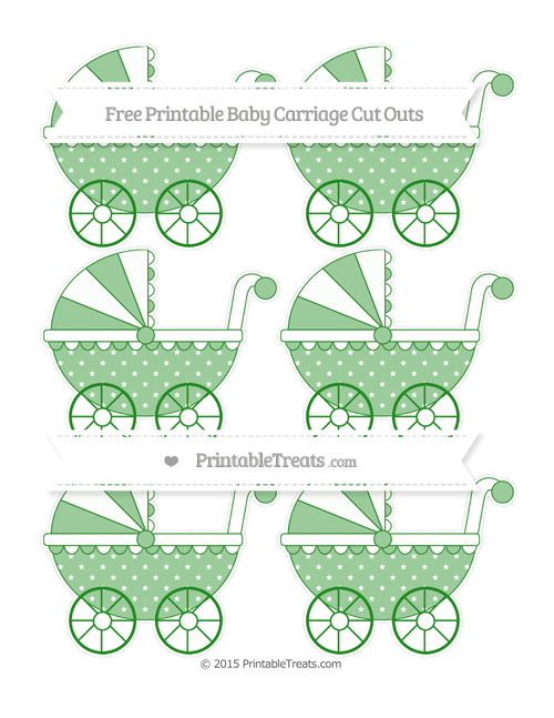 Free Forest Green Star Pattern Small Baby Carriage Cut Outs