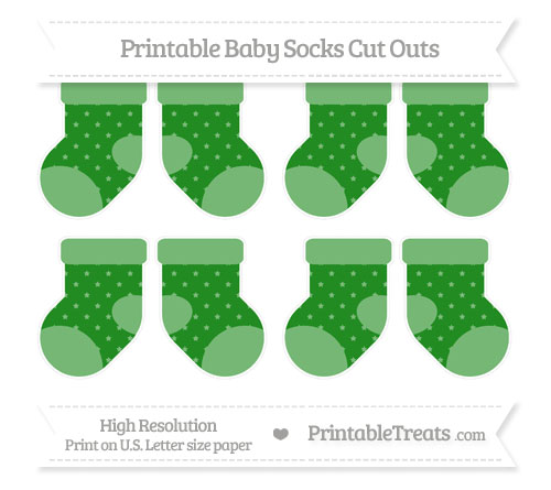 Free Forest Green Star Pattern Small Baby Socks Cut Outs