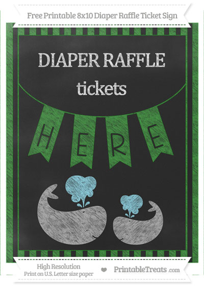 Free Forest Green Striped Chalk Style Baby Whale 8x10 Diaper Raffle Ticket Sign