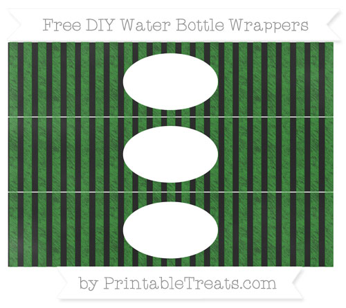 Free Forest Green Striped Chalk Style DIY Water Bottle Wrappers