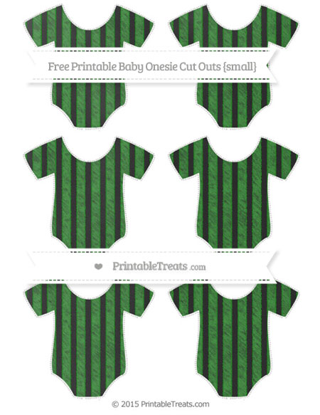 Free Forest Green Striped Chalk Style Small Baby Onesie Cut Outs