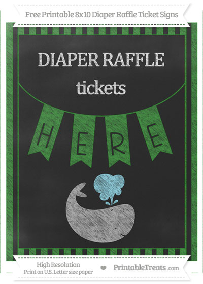 Free Forest Green Striped Chalk Style Whale 8x10 Diaper Raffle Ticket Sign