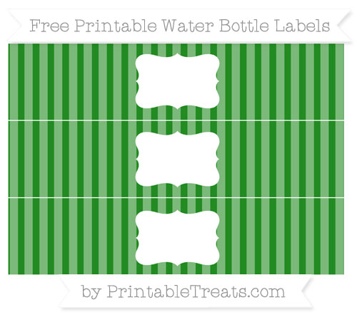 Free Forest Green Striped Water Bottle Labels