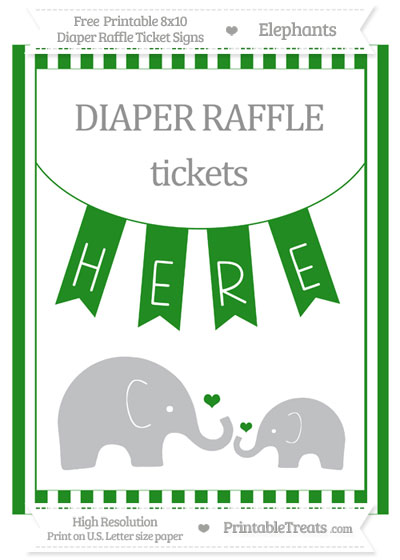 Free Forest Green Striped Elephant 8x10 Diaper Raffle Ticket Sign
