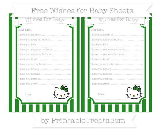Free Forest Green Striped Hello Kitty Wishes for Baby Sheets