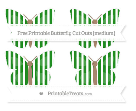 Free Forest Green Striped Medium Butterfly Cut Outs