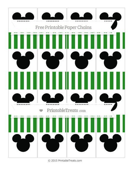 Free Forest Green Striped Mickey Mouse Paper Chains
