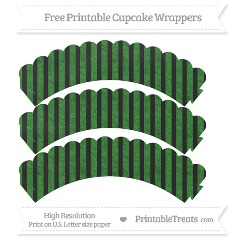 Free Forest Green Striped Pattern Chalk Style Scalloped Cupcake Wrappers