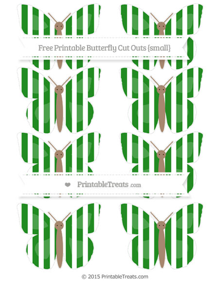 Free Forest Green Striped Small Butterfly Cut Outs