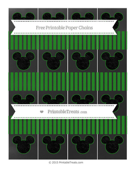 Free Forest Green Thin Striped Pattern Chalk Style Mickey Mouse Paper Chains