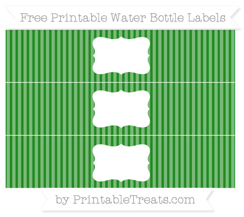 Free Forest Green Thin Striped Pattern Water Bottle Labels