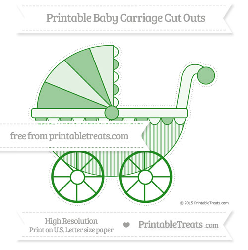 Free Forest Green Thin Striped Pattern Extra Large Baby Carriage Cut Outs