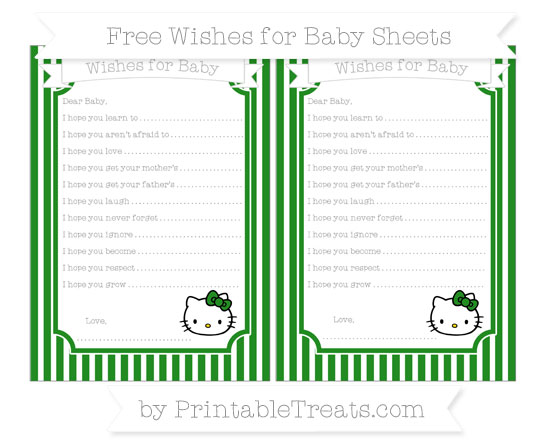 Free Forest Green Thin Striped Pattern Hello Kitty Wishes for Baby Sheets