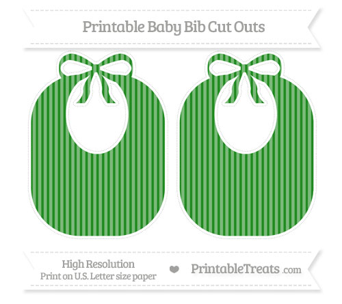 Free Forest Green Thin Striped Pattern Large Baby Bib Cut Outs