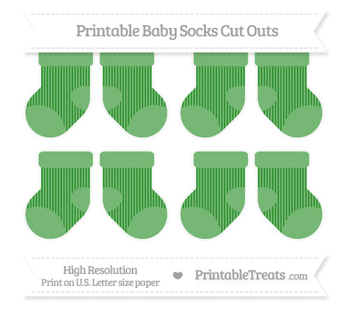 Free Forest Green Thin Striped Pattern Small Baby Socks Cut Outs
