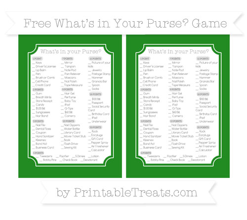 Free Forest Green What's in Your Purse Baby Shower Game