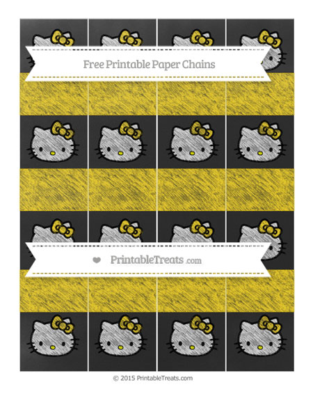 Free Gold Chalk Style Hello Kitty Paper Chains