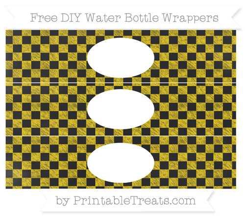 Free Gold Checker Pattern Chalk Style DIY Water Bottle Wrappers