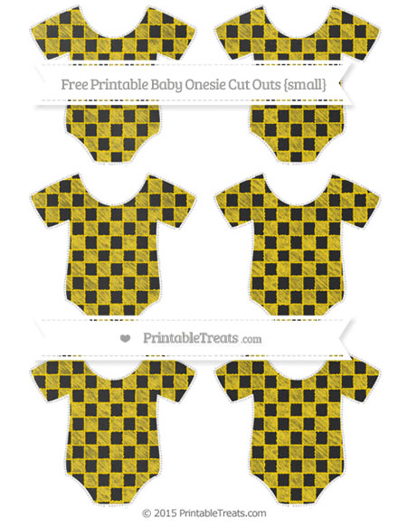 Free Gold Checker Pattern Chalk Style Small Baby Onesie Cut Outs
