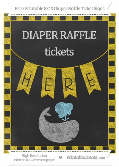 Free Gold Checker Pattern Chalk Style Whale 8x10 Diaper Raffle Ticket Sign