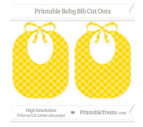 Free Gold Checker Pattern Large Baby Bib Cut Outs