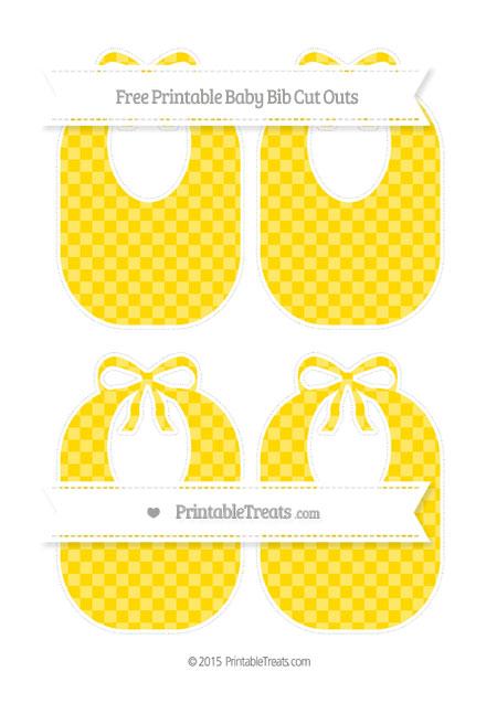 Free Gold Checker Pattern Medium Baby Bib Cut Outs