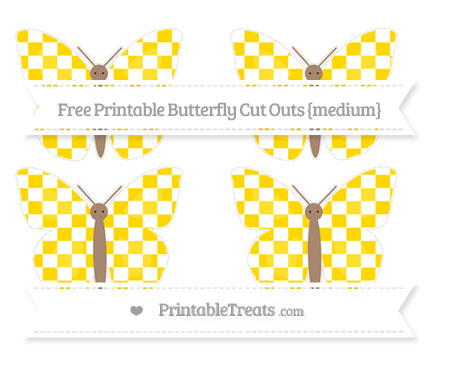 Free Gold Checker Pattern Medium Butterfly Cut Outs